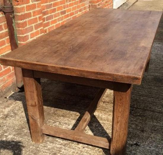 Antique oak rustic hstretcher farmhouse table for sale for Rustic farm tables for sale